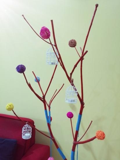 Fun DIY tree branch decor closeup