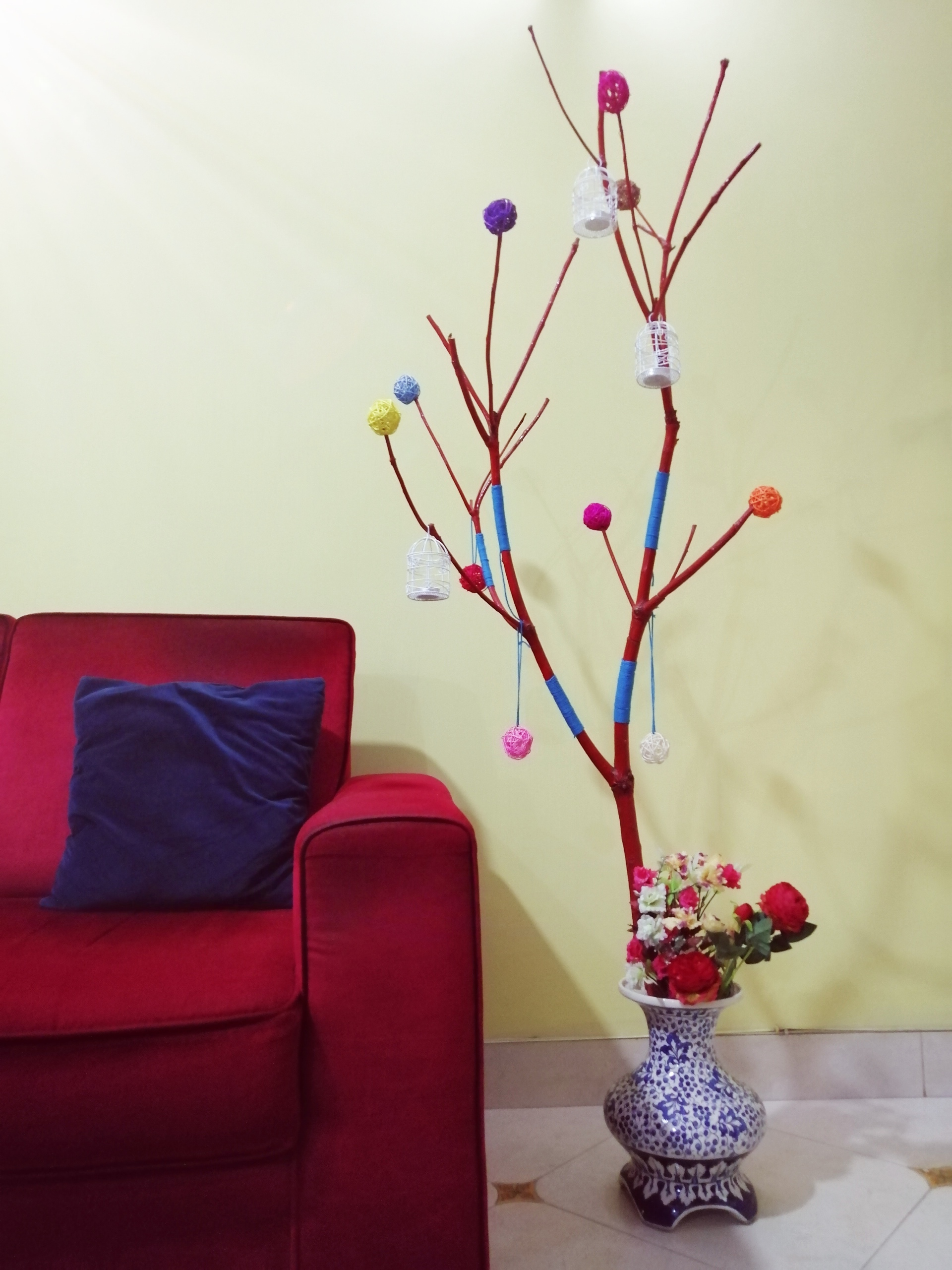Fun DIY tree branch decoration